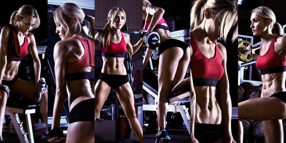 Fitness žienka - koláž zo záberov