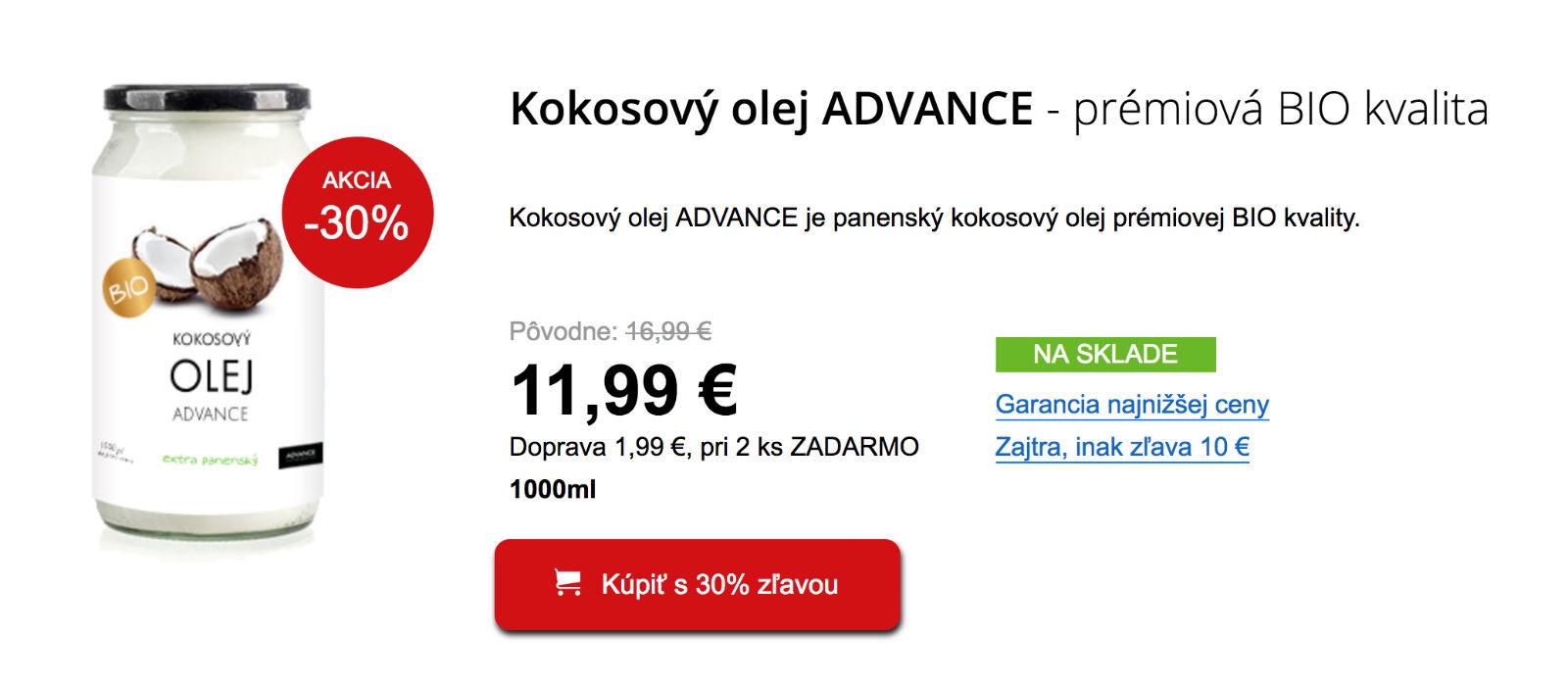 Kokosový olej Advance BIO, banner