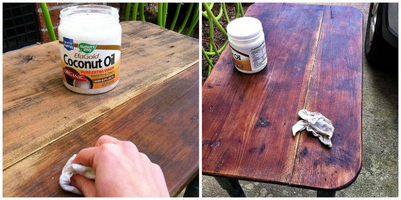 Ošetrenie dreveného nábytku kokosovým olejom