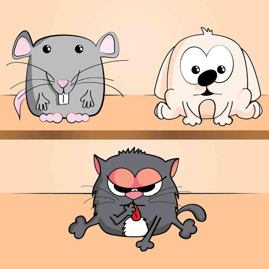 Hlodavec, pes a mačka