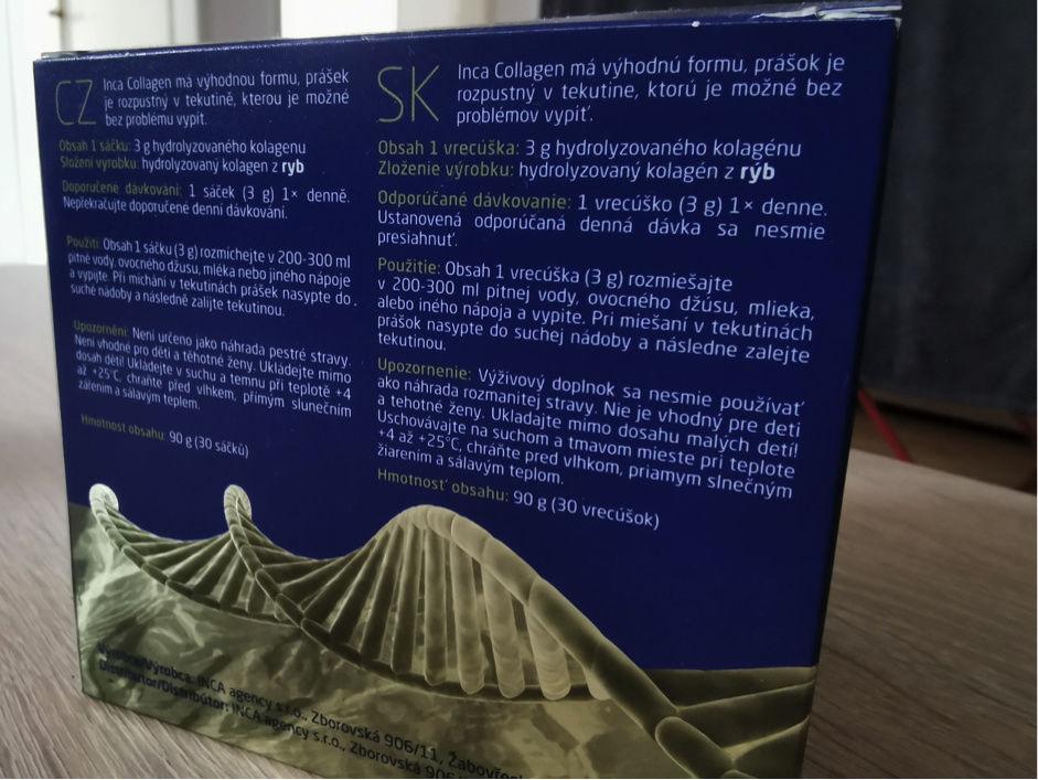 Popis na krabičke Inca Collagen, užívanie v tehotenstve