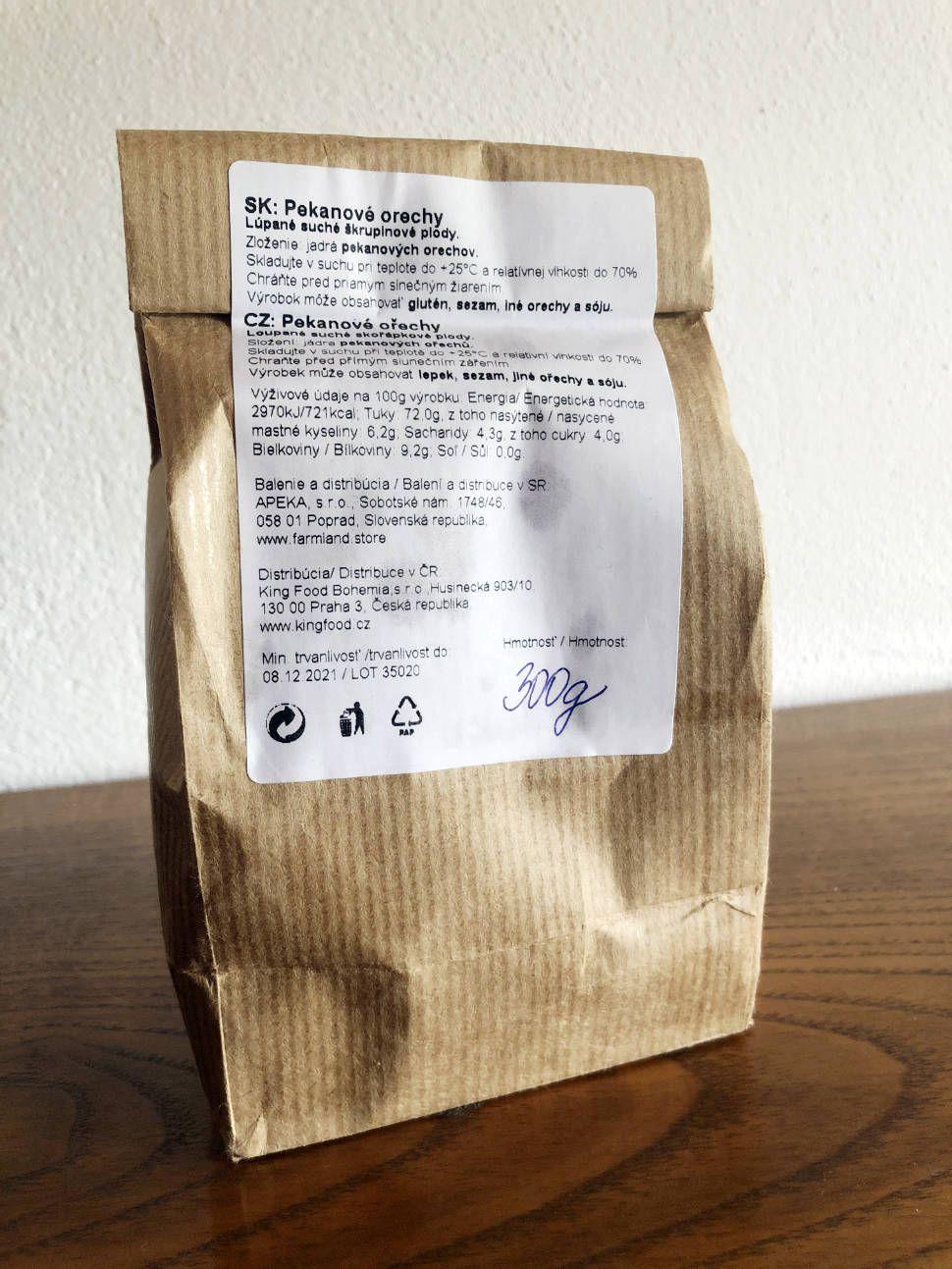 Pekanove orechy bez obalu - z eshopu Nutiva v papierovom vrecku